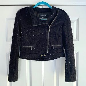 Forever 21 Cropped textured sequin Moto Ja…